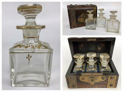 Antique 19thC French Victorian Set 3 Crystal Gilt Scent Perfume Bottles Wood Box