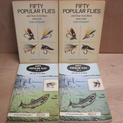 Fifty Popular Flies and How to Tie Them Tom Stewart 4 Vol Books Fishing Angling
