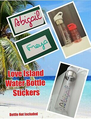 Love Island Water Bottle Sticker Decal Transfer Font Personalised Name