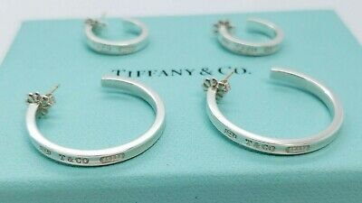 9822a5427 Tiffany & Co. 925 Silver 1837 Small and Large Hoop Earrings SET 17mm 28mm  BIN