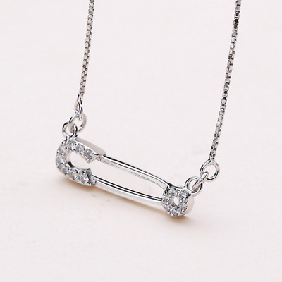 Real 925 Sterling Silver Diamond Pin Pendant Necklace Chain SOLID SILVER Jewelry