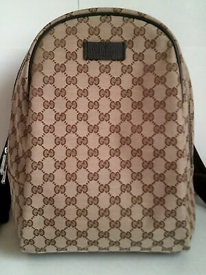 2295afe21 NEW GUCCI 449906 Beige/Brown GG Canvas Zipper Top Backpack - $950.00 ...