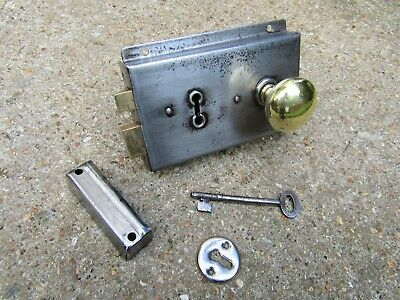 SALVAGED ART DECO 1921 DOOR RIM LOCK BRASS HANDLE KEEP KEY SET - letter box knob