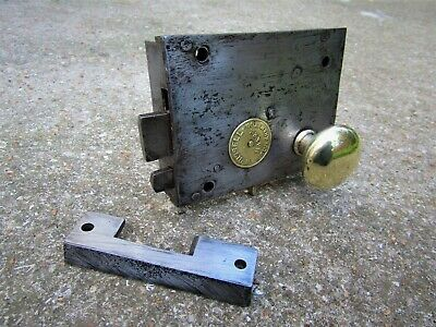 Salvaged Victorian Thumb Door Rim Lock Brass Handle Keep W Bissell Wolverhampton