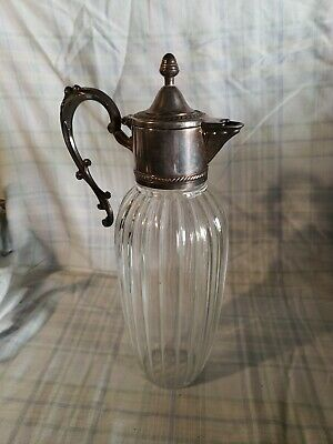 Vintage Italy Italian Silver And Crystal Glass Pitcher Decanter Carafe