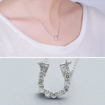 Real 925 Sterling Silver Diamond U Pendant Necklace Chain SOLID SILVER Jewelry