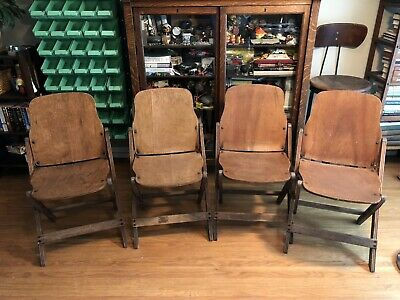 "Qty 4 ~ Vintage American Seating Company Wood Folding Chairs 33""x17""x2"" Folded"