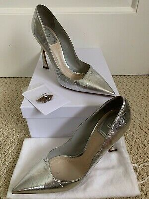 19f87cb2e3 Christian Dior Songe Metallic Silver Crinkle Leather Pointed Pumps 36.5 6.5  $850