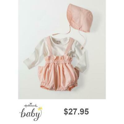 be1adb951 Adorable Bow Back Sunsuit and Sun Hat *Hallmark Baby* 0-3m Pink Cotton