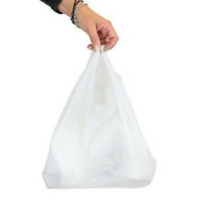 """1000 x Small White Vest Plastic Carrier Bags 10x15x18"""""""