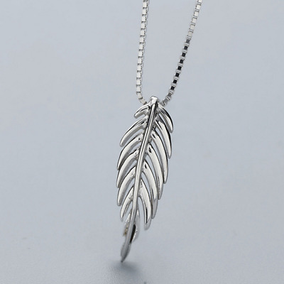 Real 925 Sterling Silver Feather Pendant Necklace Chain SOLID SILVER Jewelry