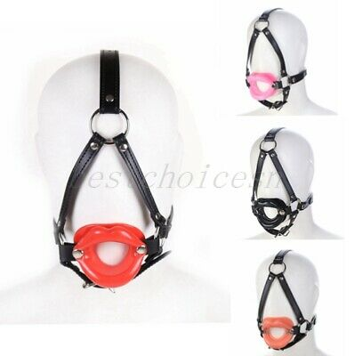 Silicone Open Mouth Lip Gag Head Harness O Ring Leather Strap Restraint Fun Gift