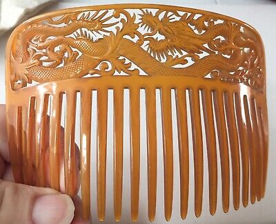 Rare Antique carved Chinese DRAGON celluloid Hair Accessory Ornament Comb
