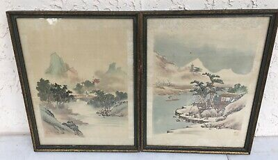 Chinese pair Hand painted signed Landscape prints w/silk border