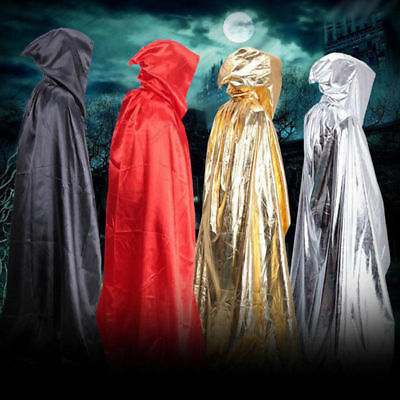 Deluxe Hooded Cloak Cape Long Vampire Witch Wizard Halloween Fancy Dress Costume