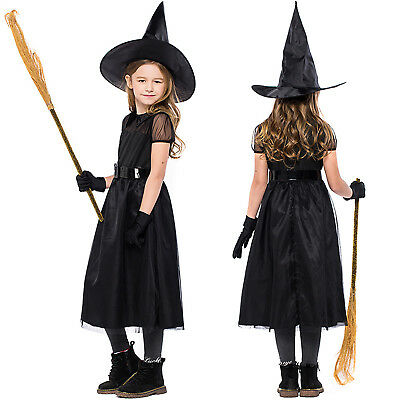 Kids Girls Halloween Costume Witch Belt Party Dress + Hat Gloves Cosplay Outfits