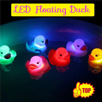 Baby Shower Duck Bath Toy Led Water Glow Floating Flash Infant Kid Play Swim