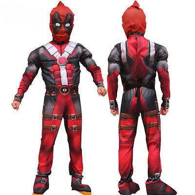 Kids Boys Deadpool Cosplay Costume Party Fancy Dress Jumpsuit + Mask Outfit Set