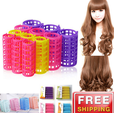 Plastic Hair Rollers Curlers Pro Self Grip Small Medium And Large Size 30pcs UK