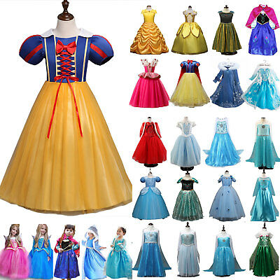 Girl Kid Princess Belle Cinderella Costume Party Gown Dress Up Frozen Clothes