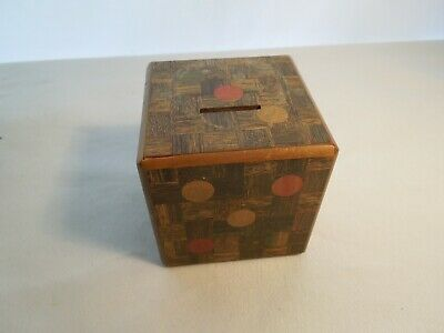 Antique Wood Dice Penny Bank Butcher Block Design with Secret Opening Very Rare