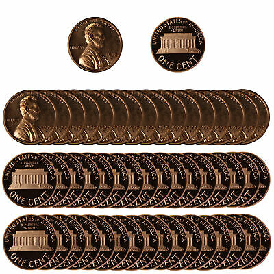 1972 Gem Proof Lincoln Cent Roll - 50 US Coins