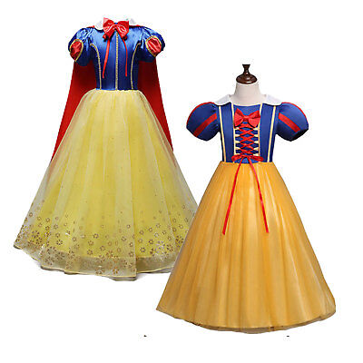 Kid Girls Snow White Princess Costume Fancy Halloween Party Dress Child Cosplay