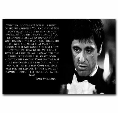 30 24x36 Poster Scarface Tony Montana Hot Classic Quotes Movie T-1533
