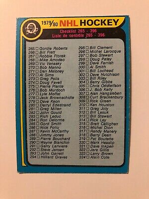 1979-80   O-Pee-Chee  OPC Checklist  #346   Unmarked