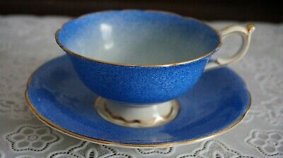 VINTAGE Rare Paragon Double Warrant Stone Blue Footed Cup and Saucer, England