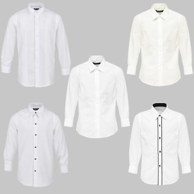SUIT LAB - Boys White Button Up Dress Shirts | White | Formal | Wedding | School