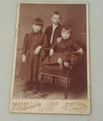 ANTIQUE Photograph Cabinet Card 3 Children 2 girls 1 boy in formal pose chair