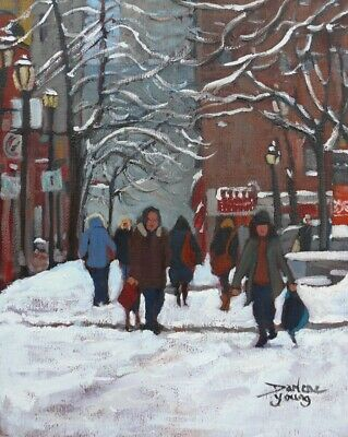 Montreal Winter Scene, Prince Arthur, 8x10, oil, Darlene Young Canadian Artist