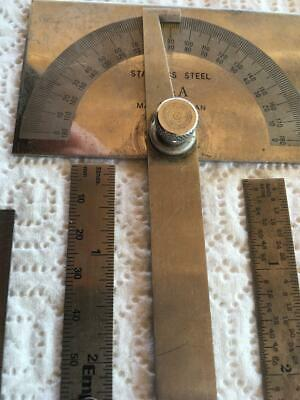 180 degree Stainless Steel Protractor Angle Finder Arm, Three Measuring Rulers