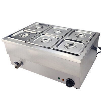 6 Pots Commercial  Bain Marie Catering Wet Well Wet Heat Electric Food Warmer UK