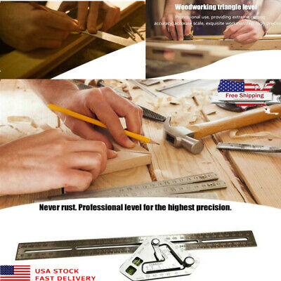 Stainless Steel Triangle Ruler Woodworking Wood Measuring Tool Right Angle Level