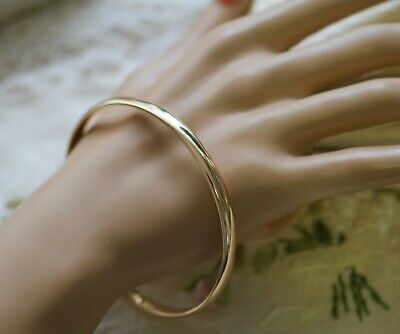 Vintage Jewellery Gold Rose Bangle Jewelry 7Cm Across