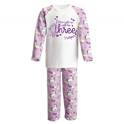 Personalised When I Wake Up 3 Unicorn Kids Pyjamas Children's Pjs Birthday Girls
