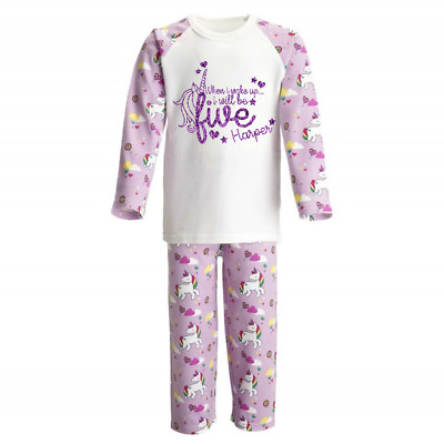 Personalised When I Wake Up 5 Unicorn Kids Pyjamas Children's Pjs Birthday Girls