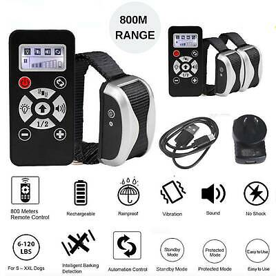 Auto Anti Bark Stop Barking Dog Training Collar Rechargeable Remote Healthy 800m