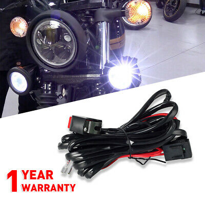 universal motorcycle led driving lights auxiliary work lamps wiring harness  kit
