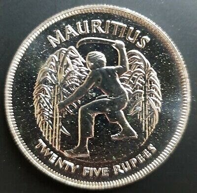 1977 Mauritius 25 Rupees Queen's Silver Jubilee Coin Prooflike Uncirculated...