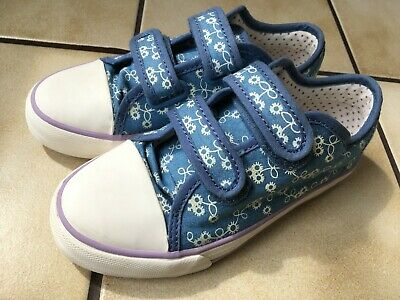 M&S Marks & Spencer Girls Summer Trainers Shoes Blue & White Flowers Size inf 12
