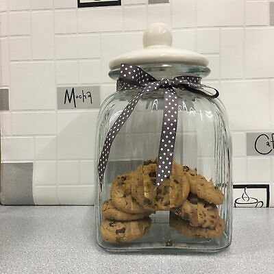 Large Ribbed Glass Storage Jar with Ceramic Lid and Ribbon for cookies 26cm