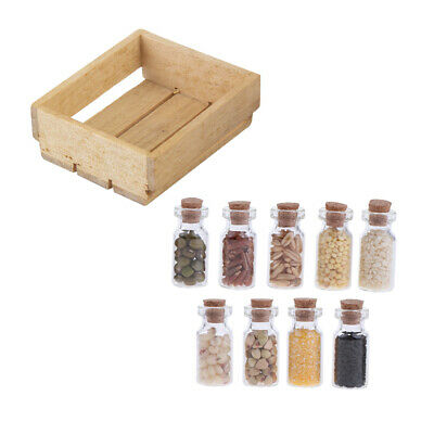 1/12 Scale Dollhouse Miniature Kitchen Jars with Dried Food Wood Basket
