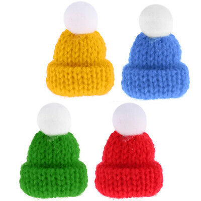 4Pcs/set Knitted Miniature Hats for 1:12 Dollhouse Miniature Home Accessory