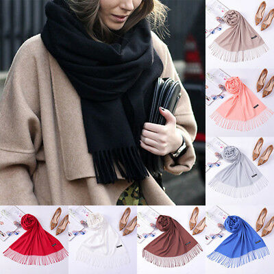 Fashion Women Solid Warm Winter Cashmere Pashmina Scarf Wrap Shawl Tassels Stole