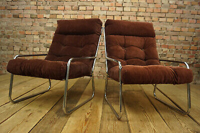 60er Easy Lounge Chair Sessel Clubsessel Chrom & Cord 70er 1/2