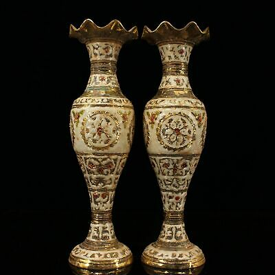 "12"" Chinese Antique Nepal bronze gilt gold Cloisonne handmade vase A PAIR"