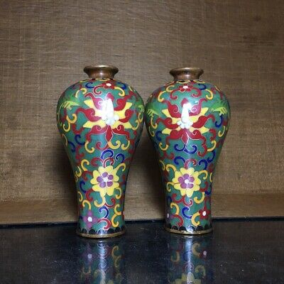 "6"" Chinese old Antique bronze Cloisonne handmade plum vase A pair"
